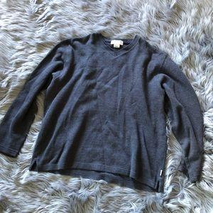 J crew 100% cotton grey v neck men's sweater